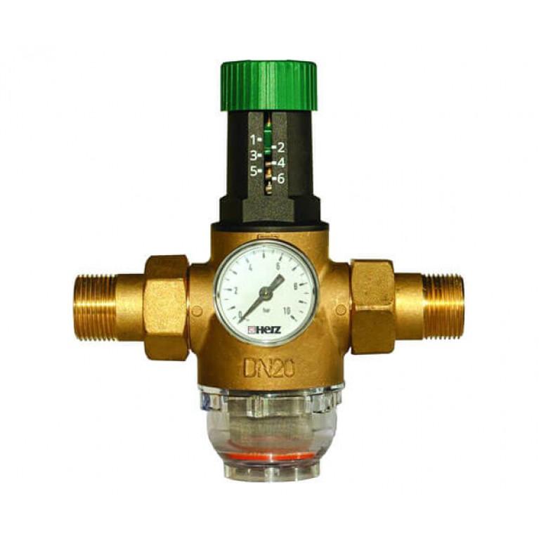 Редуктор давления HERZ, диапазон регулировки 1,0-6,0 бар,температура 0-40 град, Ду20мм, с манометром