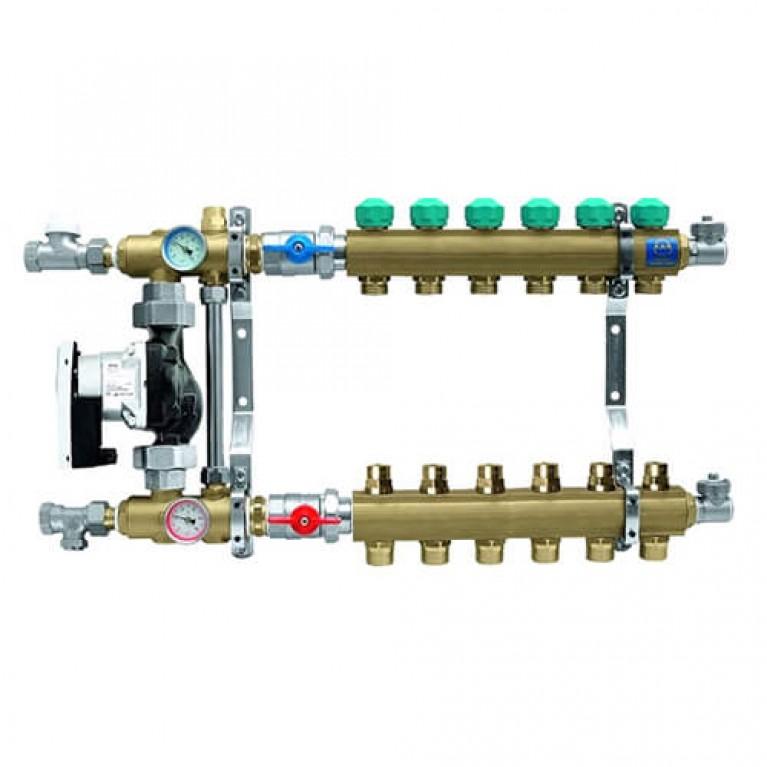 Коллектор для теплого пола KAN на 6 выходов без расходомеров (серия 77Е)