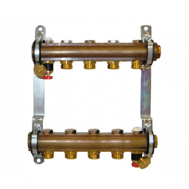 Коллектор для теплого пола Herz G 3/4 на 5 контуров без расходомеров
