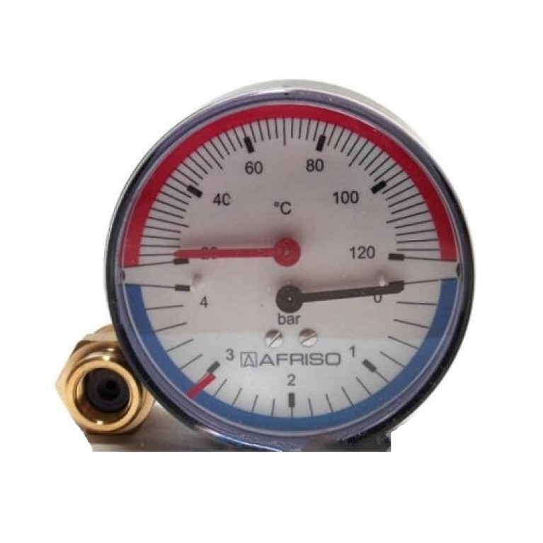 Термоманометр аксиальный TM Afriso 0-120°С,80мм,0-4 бар,1/2