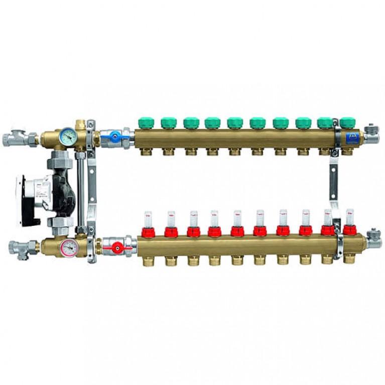 Коллектор для теплого пола KAN на 10 выходов без расходомеров (серия 77Е)