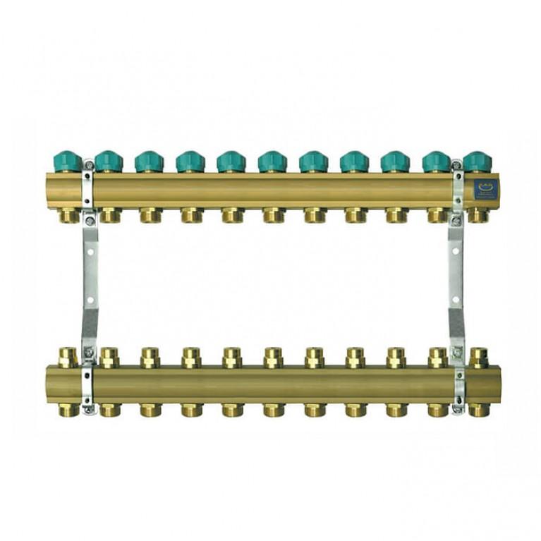Коллектор для теплого пола KAN на 11 выходов без расходомеров (серия 71A)