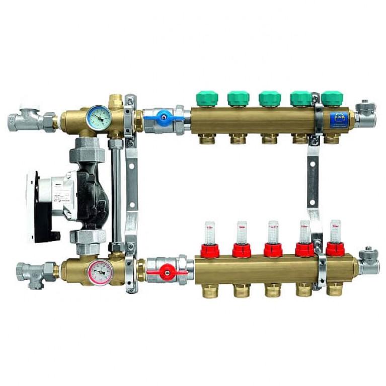 Коллектор для теплого пола KAN с расходомерами (серия 73Е) на 5 выходов