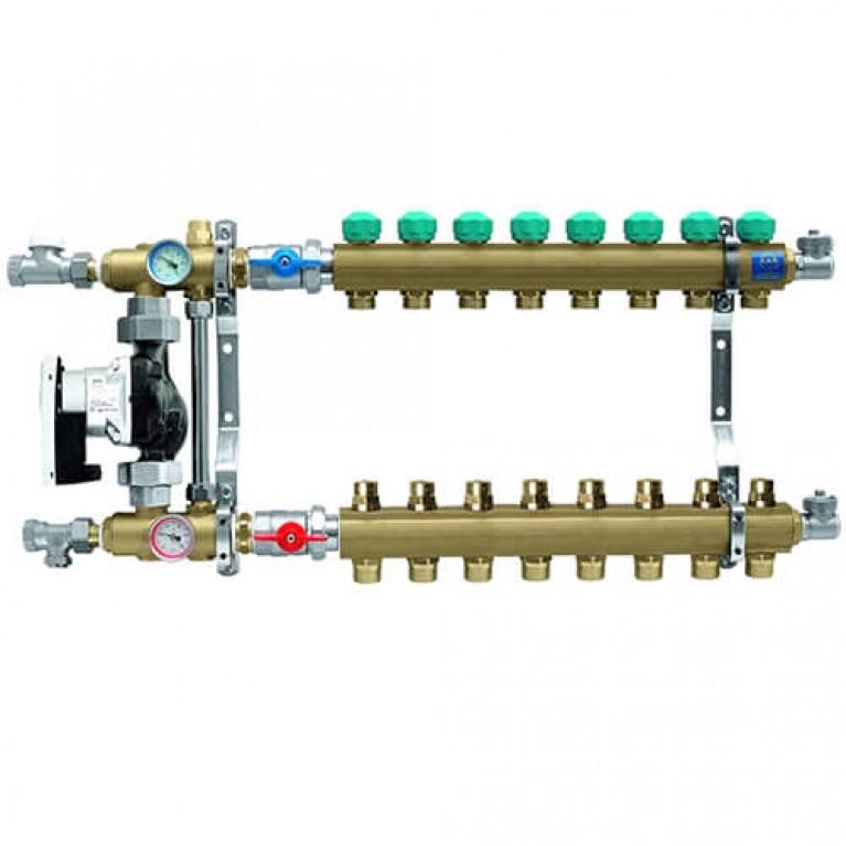 Коллектор для теплого пола KAN на 8 выходов без расходомеров (серия 77Е)