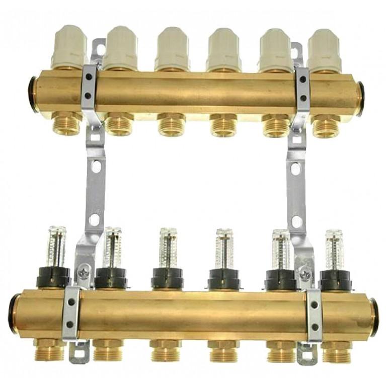 Коллектор Meibes Rossweiner на 9 контуров с расходомерами (латунный)