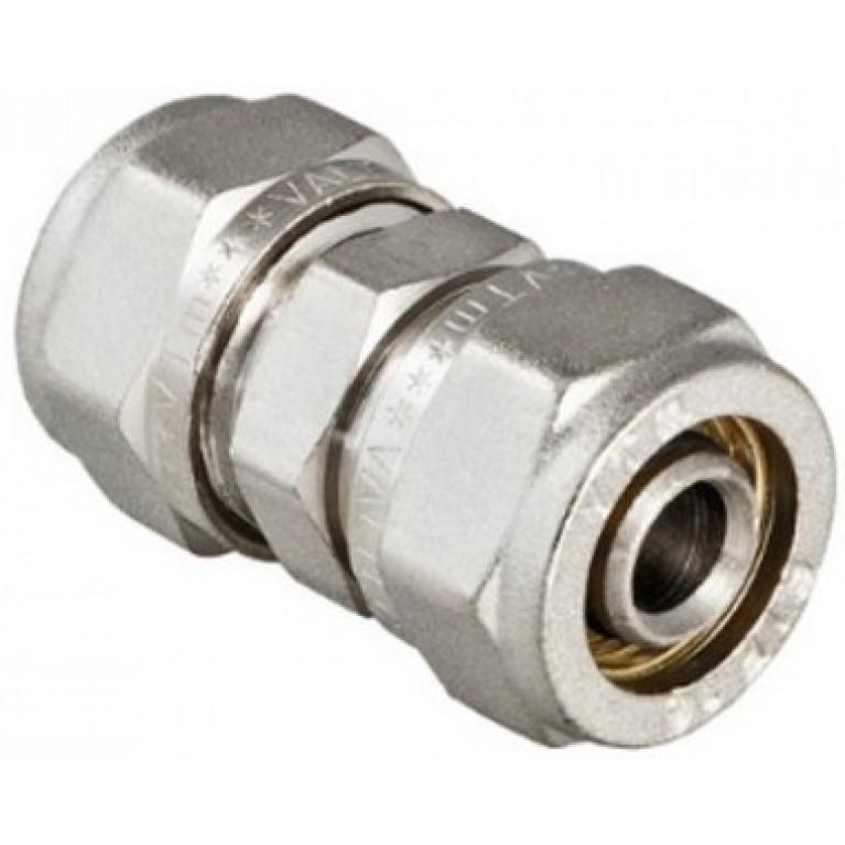Соединение прямое Valtec VTm.303 обжимное, латунь ник., 26 мм