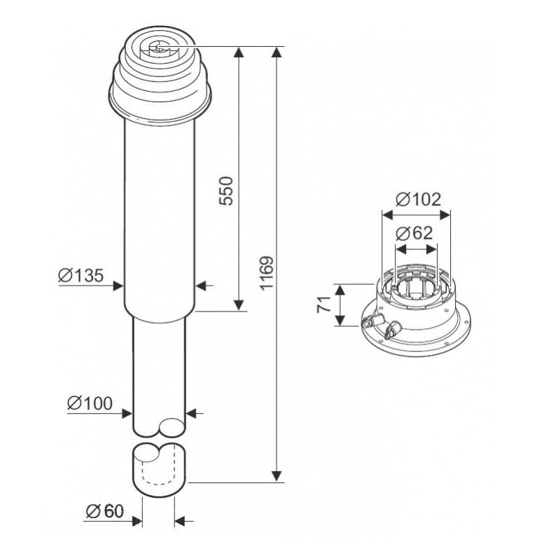 Комплект дымовой трубы DO DN60/100 в котел GB112/162/142/042