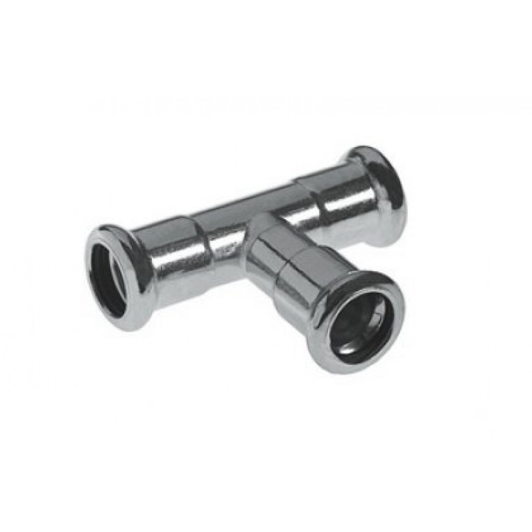 Тройник 42 мм press Steel