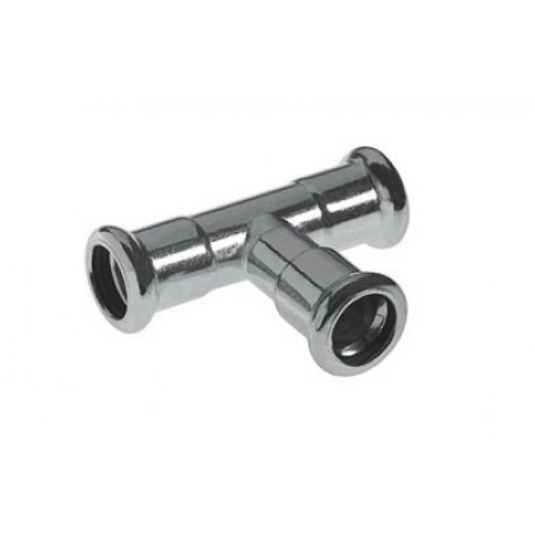 Тройник 35 мм press Steel